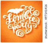 happy halloween card with hand... | Shutterstock . vector #497141416