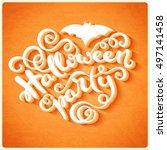 happy halloween card with hand... | Shutterstock . vector #497141458