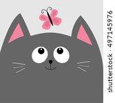 gray cat head looking at... | Shutterstock .eps vector #497145976