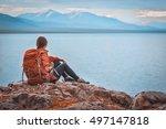 traveler girl with backpack... | Shutterstock . vector #497147818