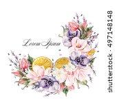 beautiful watercolor wreath...   Shutterstock . vector #497148148