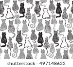Stock vector vector seamless pattern with hand draw textured cats in graphic doodle style black and white 497148622