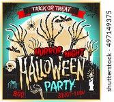 halloween zombie party poster.... | Shutterstock .eps vector #497149375