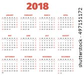 simple 2018 year calendar  week ... | Shutterstock .eps vector #497151172