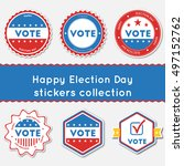 happy election day stickers...   Shutterstock .eps vector #497152762