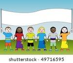 children with banner | Shutterstock .eps vector #49716595