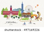 Hand Drawn Taiwan Travel Poste...