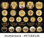 golden shields laurel wreaths... | Shutterstock .eps vector #497184136