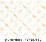 vector italian pasta pieces... | Shutterstock .eps vector #497187652