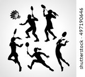 badminton players silhouettes... | Shutterstock .eps vector #497190646