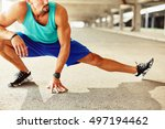 close up of male runner doing... | Shutterstock . vector #497194462