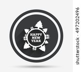 happy new year globe sign icon. ...   Shutterstock .eps vector #497202496