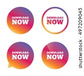 download now icon. download... | Shutterstock .eps vector #497209045