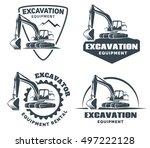 Set Of Excavator Logos  Emblem...