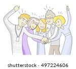 successful team in linear style ...   Shutterstock .eps vector #497224606