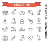 medicine icons  thin line flat... | Shutterstock .eps vector #497226118