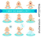 reasons baby boy is crying... | Shutterstock .eps vector #497229556