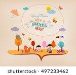 thanksgiving day. kids funny... | Shutterstock . vector #497233462