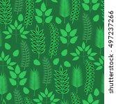 green leaves seamless pattern.... | Shutterstock .eps vector #497237266