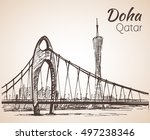 Stock vector doha qatar city view sketch isolated on white background 497238346