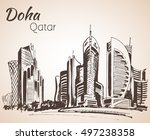 doha  qatar city view sketch.... | Shutterstock .eps vector #497238358