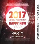 christmas party poster. happy... | Shutterstock .eps vector #497251156