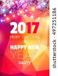 christmas party poster. happy... | Shutterstock .eps vector #497251186