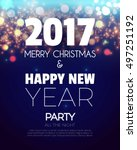 christmas party poster. happy... | Shutterstock .eps vector #497251192