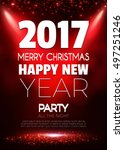 christmas party poster. happy... | Shutterstock .eps vector #497251246