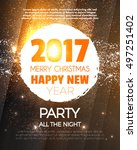 christmas party poster. happy... | Shutterstock .eps vector #497251402