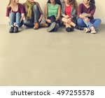 girls friendship togetherness... | Shutterstock . vector #497255578