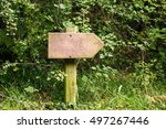wooden signpost in forest | Shutterstock . vector #497267446