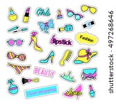 pop art set with fashion patch... | Shutterstock .eps vector #497268646