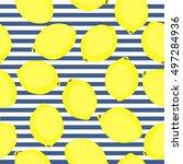 lemon pattern. seamless... | Shutterstock .eps vector #497284936