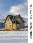 old wooden house on ullsfjord ... | Shutterstock . vector #497291746