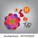 chinese new year 2017. plum... | Shutterstock . vector #497295835