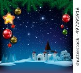 christmas greeting with pine... | Shutterstock .eps vector #497295916