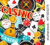 casino gambling seamless... | Shutterstock .eps vector #497303275