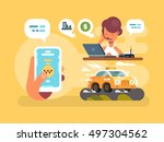 taxi order online | Shutterstock .eps vector #497304562