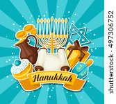 jewish hanukkah celebration... | Shutterstock .eps vector #497306752