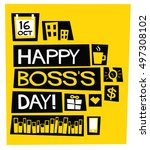 happy boss's day   16 october ... | Shutterstock .eps vector #497308102