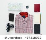 flat lay of traveler equipment. ...   Shutterstock . vector #497318032