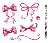 watercolor holiday red ribbon... | Shutterstock . vector #497319436
