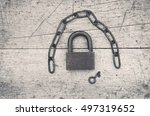 Old Padlock  Iron Chain And A...