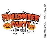 happy halloween text banner...   Shutterstock .eps vector #497326942