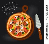 pizza with salami  sausage ...   Shutterstock .eps vector #497331055