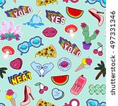 seamless pattern with fashion... | Shutterstock .eps vector #497331346