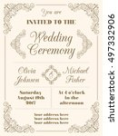 wedding invitation in retro... | Shutterstock .eps vector #497332906