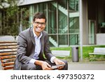 happy smiling indian business... | Shutterstock . vector #497350372