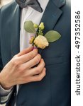 wedding boutonniere on suit of... | Shutterstock . vector #497352586
